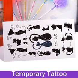 Wholesale Large Lip Stickers - Temporary Tattoos Large Arm Fake Transfer Tattoo Stickers Sexy Spray Waterproof Sexy Black Cat Love Couple Tatuagem Temporaria