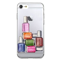 Wholesale Soft Cosmetic Cases - Unique Cute nail polish cosmetics Clear Transparent Soft Silicon Phone Case Back Cover for iPhone 8s plus iphone X TPU Coque Carcasa shell