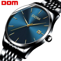 Wholesale Dom Watches - DOM Mens Watches 2017 Brand Luxury Quartz Ultra Thin Watch Men Stainless Steel Mesh Band Dress Wristwatch