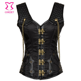 Wholesale Punk Tanks - Vintage Black Satin and Leather Punk Gothic Clothing Plus Size Corset 6XL Steampunk Corsets and Bustiers Sexy Tank Vest Korset