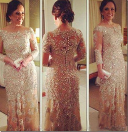 Wholesale Long Maternity Wedding Dress - 2015 Vestidos de Fiesta Gala Pageant Gowns Sheer Crew Neck Long Sleeve Beaded Lace Champagne Plus Size Wedding Evening Dresses Personalized
