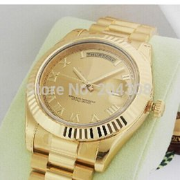 Wholesale Mens Roman Watches - Luxury WATCH Fashion Watch Yellow Gold 41mm 218238 Champagne Roman Dial Automatic Mens Sports Watch Men's Wrist Watches
