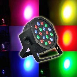 Wholesale Dmx512 Disco - Professional Stage Lighting 54W 18X 3W RGB LED Effect Light DMX512 6 Channel Par Lights Disco DJ Party Stage Light EU US Plug