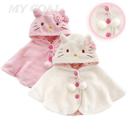 Wholesale Hello Kitties Clothes - Wholesale-Fashion 0-3Y Hello Kitty Baby Girl Clothes ,Soft Fleece Cloak Toddler Girl Clothing Cape For Outerwear Coat ,Baby Clothes