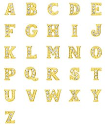 Wholesale Studded Glasses - 2016 DIY Fashion Gold Plated Charms Rhinestone Studded A to Z Alphabet Charms Suit For Glass Living Floating Lockets Jewelry K1221