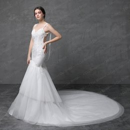 Wholesale Satin Pearl Wedding Dress - Sexy Bare Back Mermaid Wedding Dress Tulle Tiered Skirt Lace Appliqued Pearl Tassel Spaghetti Strap Real Photo
