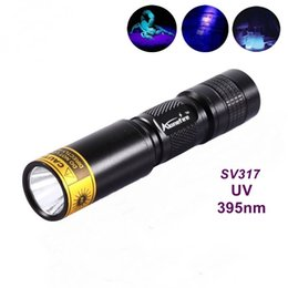 Wholesale Ultraviolet Lighting - ALONEFIRE SV317 395nm UV flashlight ultraviolet light to detector lamp For 1 * AA   14500 battery