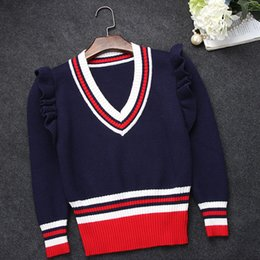Wholesale Stripe Long Sweater Slim - Wholesale- Boutique G with V collar ruffles shoulder pullover sweater agaric slim waist stitching stripe wool pullovers