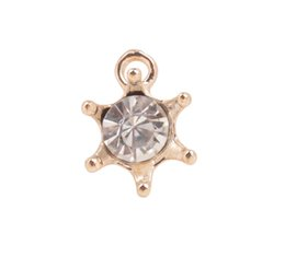 Wholesale Golden Star Charm - 20 PCS Fashion Clear Rhinestone Star Golden Charm Drops #92230