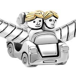 Wholesale Car Charms For Bracelet - Family Travel Together in Car bead European Charm Spacer Metal big hole Fit for Pandora DIY Bracelet