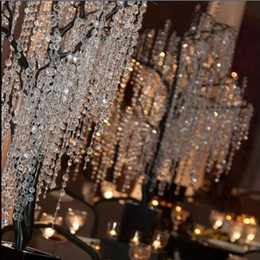 Wholesale Wholesale Strand Bamboo - 30M 99FT roll14mm acrylic Octagonal beaded clear crystal garland strands for wedding decoration chandelier Free Shipping
