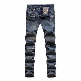 Wholesale Mens Slim Jeans Size 38 - Luxury Brand Designer Men's Fashion Runway Biker Slim Washed Jeans Pairs Vaqueros Mens Denim Trousers Plus Size 28-38