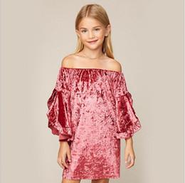Wholesale Blue Velvet Dress Christmas - Teenager Velvet Dresses 2018 Big Kids Girls Fashion Ruffles Dress Junior Autumn Long sleeve Dress Kids Christmas Clothing