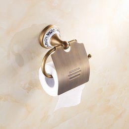 Wholesale Brass Toilet Tissue Holder - 2015 good quality bathroom hardware tissue paper dispenser Antique Brass Paper Holder Porcelain Wall Mounted Bathroom Accessories A-FN851