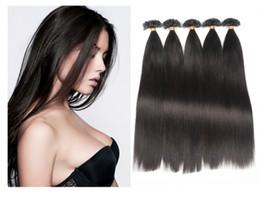 "Wholesale Extensions Nail Tip Free Shipping - Keratin U Tip Hair Extension 18""-28"",1g strand Fusion Human Hair Extension Brazilian Hair Straight Nail Tip Hair Extesnion Free Shipping"