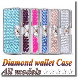 Wholesale Note Diamond Bling Case - For iphone 7 Plus Bling Rhinestone Diamond wallet Flip leather cover case For SAMSUGN Galaxy S7 edge Iphone 7 6s Plus Note 5