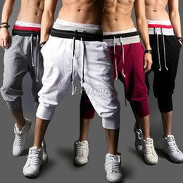 Wholesale Harem Sport Trousers Men - Wholesale-Summer Hot Casual Loose Mens Sports Capri Cropped Harem Sweatpants Jogger Trousers Harem Hip Hop Shorts S M L XXL for Xmas W1