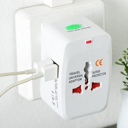Wholesale Ac Adaptor Usb Eu - All in One Universal International Plug Adapter 2 USB Port 1A World Travel AC Power Charger Adaptor with AU US UK EU converter Plug