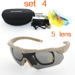 Wholesale Soldier Glasses - 3 5 Pairs Lens Soldiers Tactics Polarized Sunglasses ESS Crossbow Outdoor Sports Mens Army Buller-proof Goggles Sun Glasses Shooting Eyewear