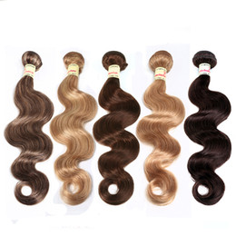 Wholesale 24 Inch Red Hair Extensions - Brazilian Virgin Hair Body Wave Hair Weave Bundles Unprocessed Virgin Brazilian Body Wave Human Hair Extensions Red Brown Blonde