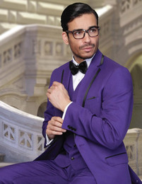 Wholesale man light purple wedding vest - 2015 Trendy Purple Men Wedding Suits Notch Lapel Groom Groomsmen Tuxedos One Button Bridegroom Morning Suits (Jacket+Pants+Vest+Bow Tie)