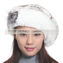 Wholesale Furry Winter Hats - Fur Hat Beret Rabbit Furry Hats Women Russian Winter Fur Knitted Winter Ladies warm hat with fox fur flower Sexy