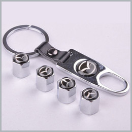 Wholesale Valve Order - 1 set x Silver New Style Chrome Metal Car Tire Wheel Rims Stem Valve CAPS with KeyChain Key Chain For Car 1 set = 4pcs order<$18no track
