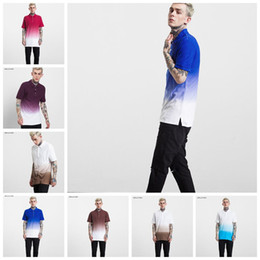 Wholesale Wholesale Men Polo T Shirts - Men Gradient Polo Shirt Candy Color T-shirt Advertising Shirt Man Short Sleeve Slim Fit Tops 6 Colors OOA3765