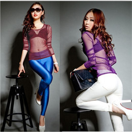 Wholesale See Through Womens Clothing - 9 Colors HOT 2014 Fashion New Womens Clothing Sexy See Through Stretch Slim Mesh Tops T-Shirt Sheer Bottom Tee Free Shipping