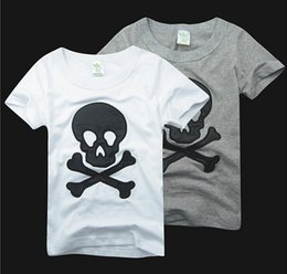 Wholesale Summer Children Cartoon Tees - Pure Cotton Summer Children Cartoon Tshirt Embroider Beard Skull Short Sleeve tees shirts tops skull tshirts cotton jersey baby boys t-shirt