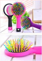 Wholesale Volume Hair Tool - 2017 Rainbow Volume Tangle Detangling Hair Brush Multi Color Magic Detangler Hair Styling Tool Hair Brush Comb With Mirror