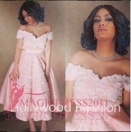 Wholesale Lovely Sexy Gowns - Lovely Pink Prom Dresses Long Formal Evening Gowns 2015 Occasion Dress A-Line Off-Shoulder Tea-Length Party Celebrity Arabic Custom Made