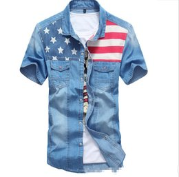 Wholesale Pepe Jeans Shirt - Wholesale-2015 New Arrival Summer Style Denim Shirts Jeans Shirts Men Camisa Jeans Pepe Jeans Light Blue Men Shirts Short Sleeve autumn