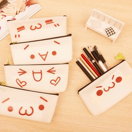 Wholesale Large Fabric Pencil Case - Emoji Writing Case Cartoon Large Capacity Zipper Pencil Bag Student Stationery Gifts For Many Styles 2 7qh C R