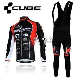 Wholesale Cube Long Sleeve Cycling Top - 2015 CUBE men winter fleece cycling Jersey sets with long sleeve bike top & (bib) pants in cycling clothing, bicycle wear