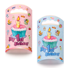 Wholesale Mixed Paper Gift Bags - Mix 2 style 2015 My first Birthday Party Candy Bag Cartoon Gift wrapping Bag Tote Bag Paper Gift Bag Handbag PA01