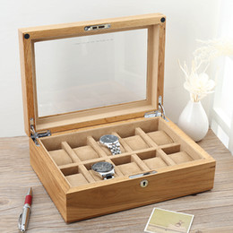Wholesale Zipper Watch - Pure Real Wood Exports American Oak Skylight Watch Box Ten Mechanical Watch Show Collect Receive Travel Cosmetic Bag Beauty Case