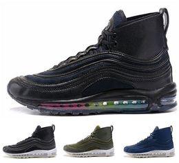 Wholesale Rubber Sole Boots Men - Top quality cheap brand men's winter air 97 high cut running shoes 2018 air cushion high top sport shoes air sole warm sneaker boots