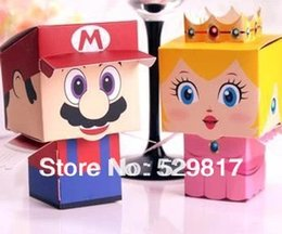 Wholesale Super Mario Candy Boxes - Wholesale-new free shipping 50pcs Super Mario Bros princess Bride and Groom Wedding Favor Boxes gift candy box,Can choose only one kind
