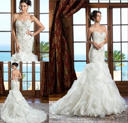 Wholesale Silk Organza Sweetheart Neck Wedding - Luxury Beaded Crystal Wedding Dresses Sweetheart See Through Zipper Back Mermaid Ruffles Ball Gown Cheap Train Sexy Wedding Gowns