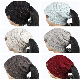 Wholesale Blue Pony Tail - New Women CC Ponytail Caps Winter Warm Wool Knitted CC Beanie Outdoor Casual Mixed Color Back Hole Pony Tail Crochet Skull Hat A487