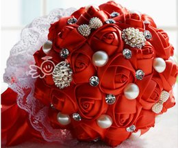 Wholesale Hand Bouquet Rose Pink - Wedding Artificial Rose Satin Bouquets Crystal Adorned Lace Bridal Bouquet Top Sale Bridesmaids Hand Holds ivory Pink Purple Red