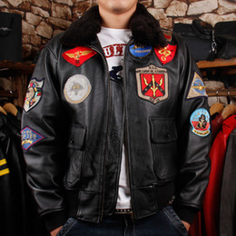 Wholesale Leather Bomber Jacket Brown Xl - Men's Leather Jacket US Air Force Pilot's Shorts bomber coats thick genuine leather cowhide urban baron