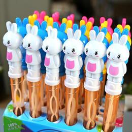 Wholesale Bubble Bottles Favor - Wholesale- Magic Tube Bubble Stick Soap Bottles Cartoon Bubble Water Children Toy Birthday Party Decorations