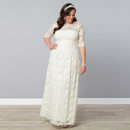 Wholesale Sheer Ankle Length Robe - Beige Lace Cheap Price Wedding Dresses Large Size Vestidos Half Sleeves Ankle-Length Huge Plus Size Robe De Mariage in Discount