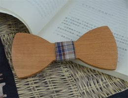 Wholesale Big Bowties - Wholesale Creative Wooden Bowties Ornament Cherry Fashion British Style Cloth Bow Tie Big Bowknot Leisure Personality Accessory for Wedding