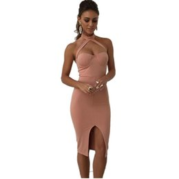 Wholesale Padded Halter Dress - Sexy Front Split Sheath Chest With Pad Summer Dress Choker Neck Bandage Bodycon Night Club Party Women Solid Pencil Tunic dresses DK1737LY