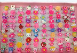Wholesale Ring Finger Girls - plastic Finger Rings for children 100pcs box cartoon adjustable Finger Rings for Kids girl childrens jewelry wholesale