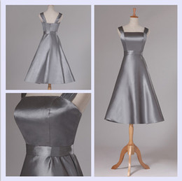 Wholesale Strapless Yellow Short Bridesmaid Dresses - New Gray Satin Bridesmaid Dress Short 2016 Capped Strapless Ball Gown Formal Party Dress Real Photo