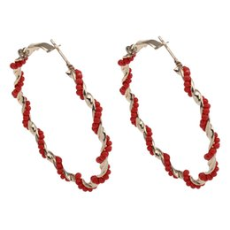 Brincos de laço on-line-Atacado-YYW New Deisgns 1 par de vidro de semente de torção Beads Gold-cor Big Rodada Loop Círculo Hoop Brinco Jóias para Mulheres Punk Hoop Earrings